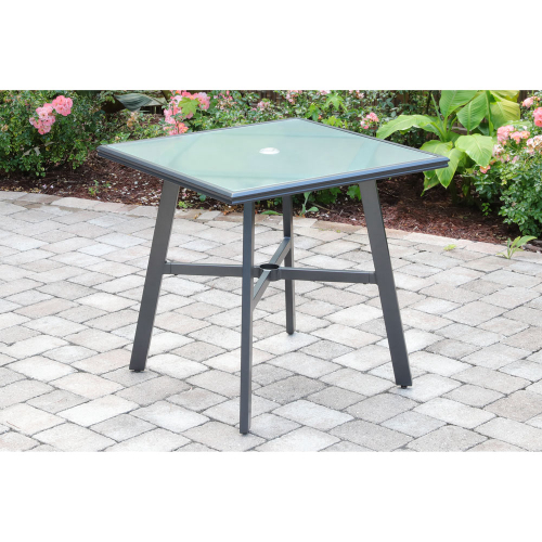 "Commercial Aluminum 30"" Square Glass Top Table"