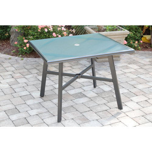 "Commercial Aluminum 38"" Square Glass Top Table LIFESTYLE1"