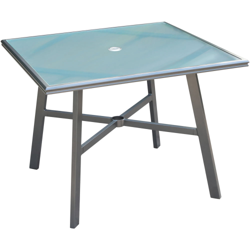 "Commercial Aluminum 38"" Square Glass Top Table"