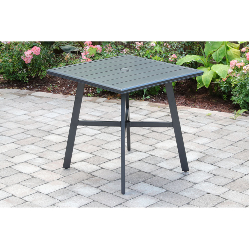 "Commercial Aluminum 30"" Square Slat Top Table LIFESTYLE1"