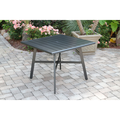 "Commercial Aluminum 38"" Square Slat Top Table"