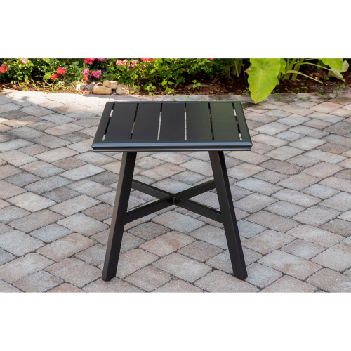 "Commercial Aluminum 22"" x 22"" Slat-top Side Table LIFESTYLE1"