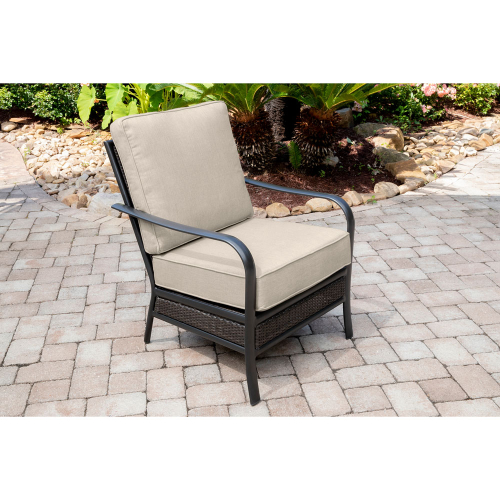 Commercial Aluminum Woven Club Chair With Sunbrella Cushion S/1