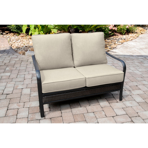 Wendle Woven Commercial Aluminum Loveseat with Sunbrella Cushions LIFESTYLE1