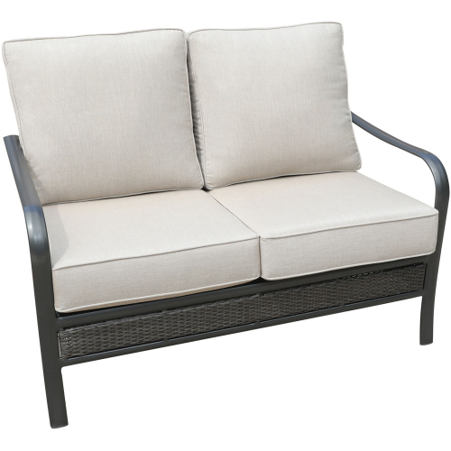 Wendle Woven Commercial Aluminum Loveseat with Sunbrella Cushions