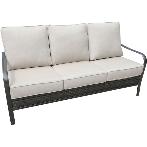Wendle Woven Commercial Aluminum Woven Sofa With Sunbrella Cushions