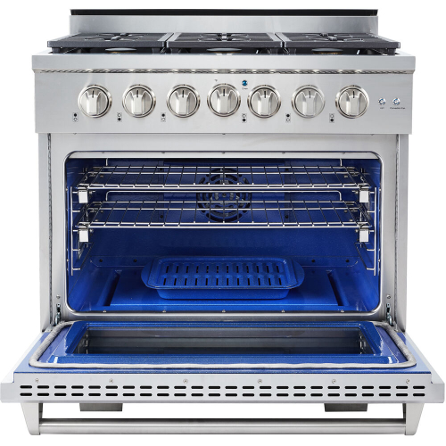 36-In. Culinary Series Professional Style Gas Range in Stainless Steel INSIDE